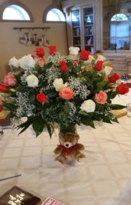 Wedding Center Piece Flowers and Bear 01