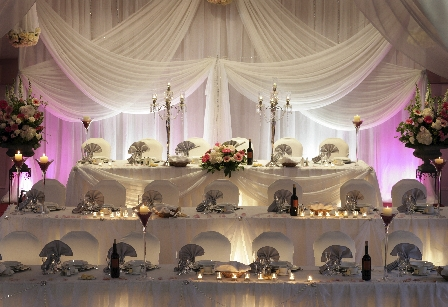 Wedding Pipe and Drape Head Table - Wedding Decorations - Wedding Chair Wraps - Wedding Table Cloths 01